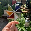 Stained  Glass Windmill Stake Small - Plant Pot Decoration - Rainbow