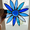 Stained Glass Daisy Suncatcher Handmade Hanging Decoration - Blue