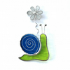 Stained Glass Snail Suncatcher - Handmade Window Decoration - Lime and Turquoise