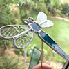 Stained  Glass Dragonfly Stake - Handmade - Plant Pot Decoration - Petrol Blue