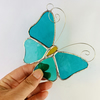 Stained Glass Butterfly Suncatcher - Handmade Decoration - Aquamarine