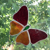 Stained Glass Butterfly Suncatcher - Handmade Decoration - Red and Orange