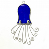 Stained Glass Octopus Suncatcher - Handmade Window Decoration - Blue
