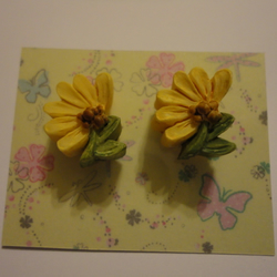 Yellow Resin Flower Earrings