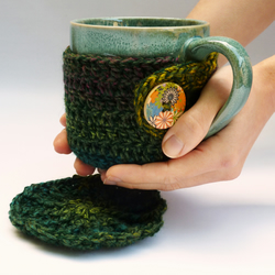 Mug cosy and coaster set in forest green shades – mug included