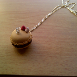 Sweet Toffee Coloured Macaron with Cream and Strawberry Necklace