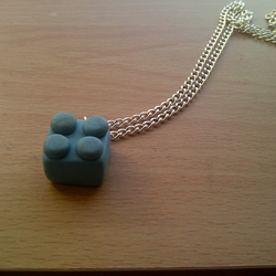 Green-Blue Lego Brick Necklace