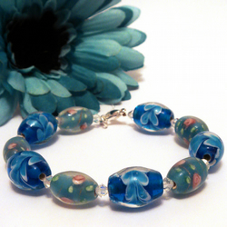 Blue Rose and Flower Lampwork Bead Swarovski Crystal Bracelet Free Postage Worldwide