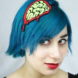 Acid green exposed brains headband, halloween costume accessory