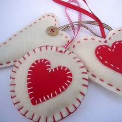 Handmade Felt Heart Decorations - Set of 3