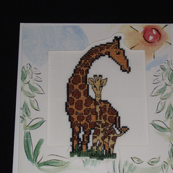 Cross-stitched Giraffes card