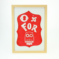 O is for Owl handscreenprinted poster - scarlet