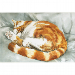 Sleeping Ginger Cat Watercolour Signed  A4 Print (11.75 x 8.25 inches)