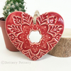 Ceramic heart hanging decoration Pottery Heart Folk art love heart Red