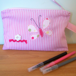 Pink Butterfly Pencil Case