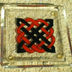 Square Glass Coaster with Red and Black Celtic Knot
