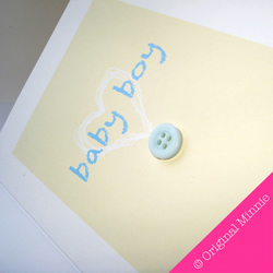 New Baby Boy card with blue button