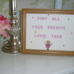 Hand embroidered picture - May all your dreams come true