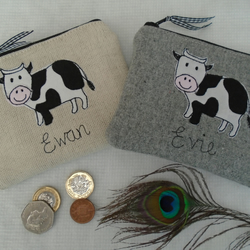 Handmade Personalised Cow Purse Wallet, Grey Wool or Linen & choice of wording
