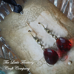 Bergundy red piezo crystal & brass earings