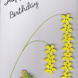 Hand made Button Art Birthday card. Mimosa