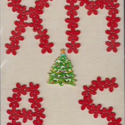 Small canvas with red button Xmas and tree OOAK