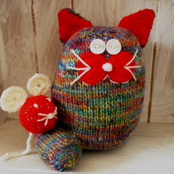 Knitted cat and mouse multi colours