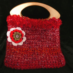 Crocheted pink & red mix bag with flower