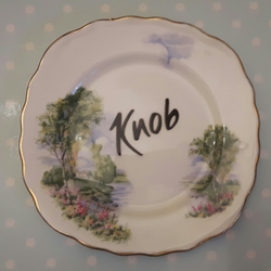 'Knob' - Decorative altered vintage tea plate - wall hanging