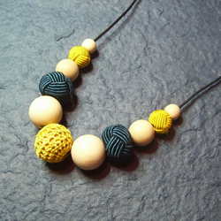 Crochet, Weave & Wood - bead necklace - mustard & teal