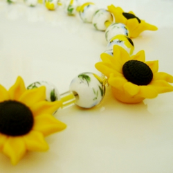 Sunflower Necklace, fimo beads