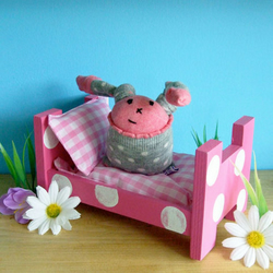 Pink Stackable Wooden Bed for tired Sock Bunnies