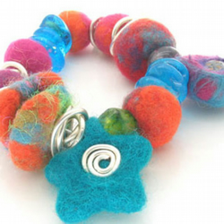 Felt and Glass Bracelet