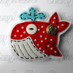 Mrs. Sailor the Whale - Red - Felt Brooch