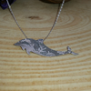 Sterling Silver Etched Sea Scene Dolphin Necklace