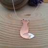 Sterling Silver and Copper Gazing Fox Necklace