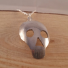 Silver Plated Upcycled Small Pierced Skull Spoon Necklace SPN071605