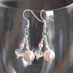 Earrings - Rose pearl and clear crystal