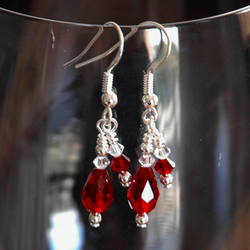 Earrings - Siam and clear crystal
