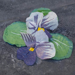 Pansy Brooch made from recycled plastic bags