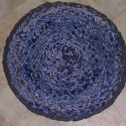 Denim Rug - plaited Rug -  Blue Rug - denim mat - rag rug