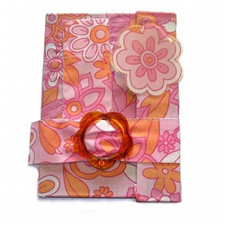 Retro Pink Fabric  Wallet Notebook / journal