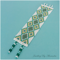 Wide Square Stitch Bracelet-Green, Teal, White and Gold with a Diamond Pattern