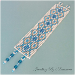 Wide Square Stitch Bracelet-Turquoise Blue, White and Silver