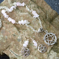 Rose Quartz Gemstone Necklace with Pentacles. Pagan, Wiccan.