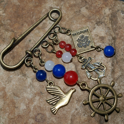 Nautical Themed Small Kilt Pin Brooch with Jade Gemstone Beads.