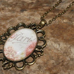 'Parisian Rose' Cameo Style, Antique Bronze and Glass Pendant Necklace.