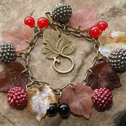 'Autumn Berries' bracelet. Antique Bronze Effect With Real Gemstone Beads.