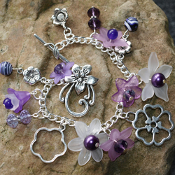 Boho Flowers, Purple Bracelet With Glass Crystals, and Real Gemstone Beads.