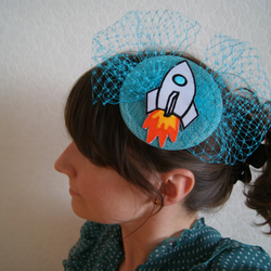 Rocket ship turquoise fascinator
